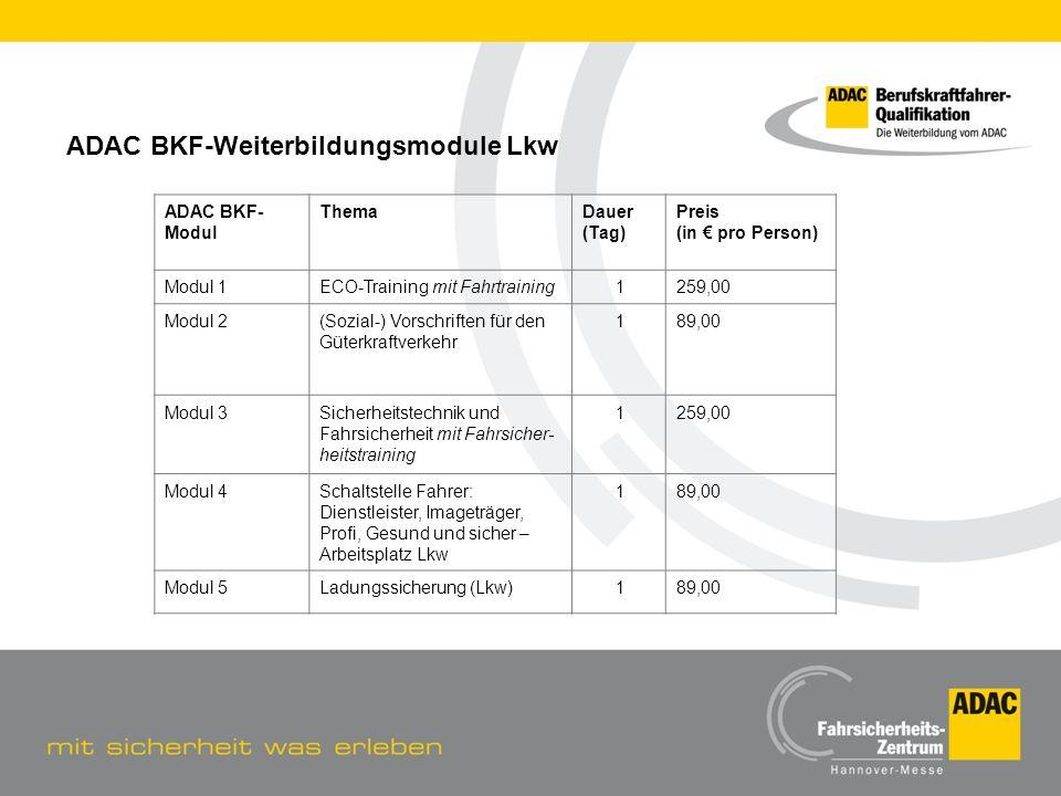 ADAC BKF-Weiterbildungsmodule Lkw
