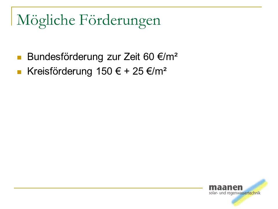 Mögliche Förderungen Bundesförderung zur Zeit 60 €/m²
