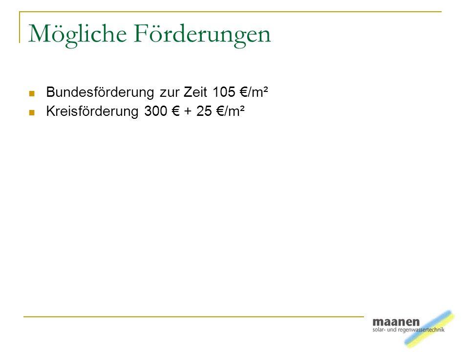 Mögliche Förderungen Bundesförderung zur Zeit 105 €/m²
