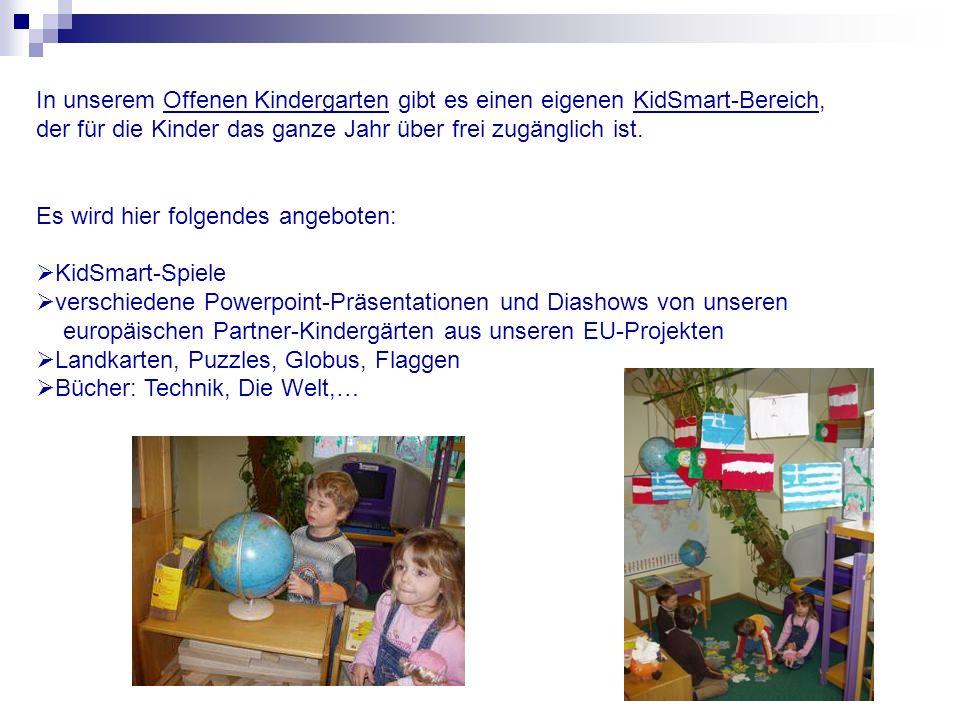 In unserem Offenen Kindergarten gibt es einen eigenen KidSmart-Bereich,
