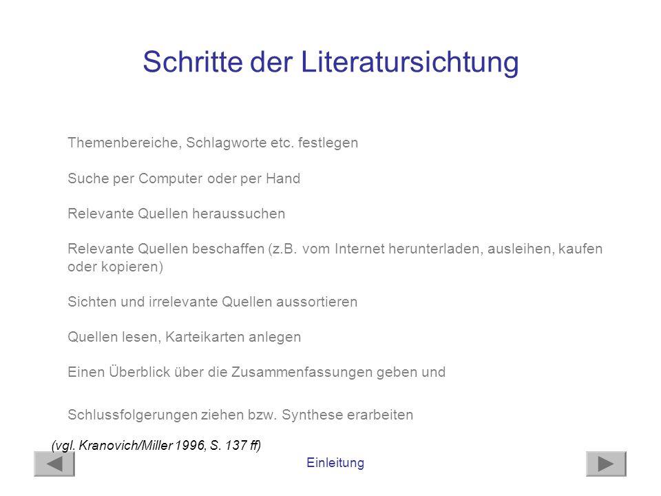 Schritte der Literatursichtung