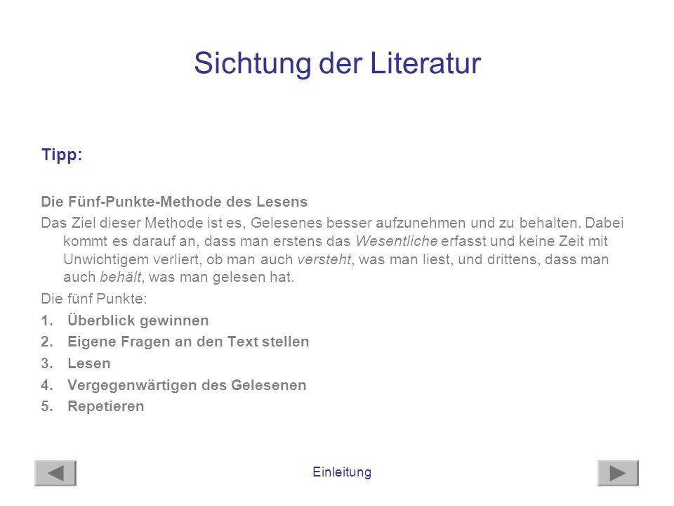 Sichtung der Literatur