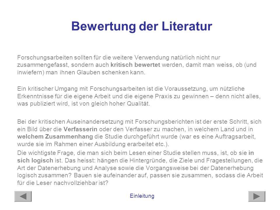 Bewertung der Literatur