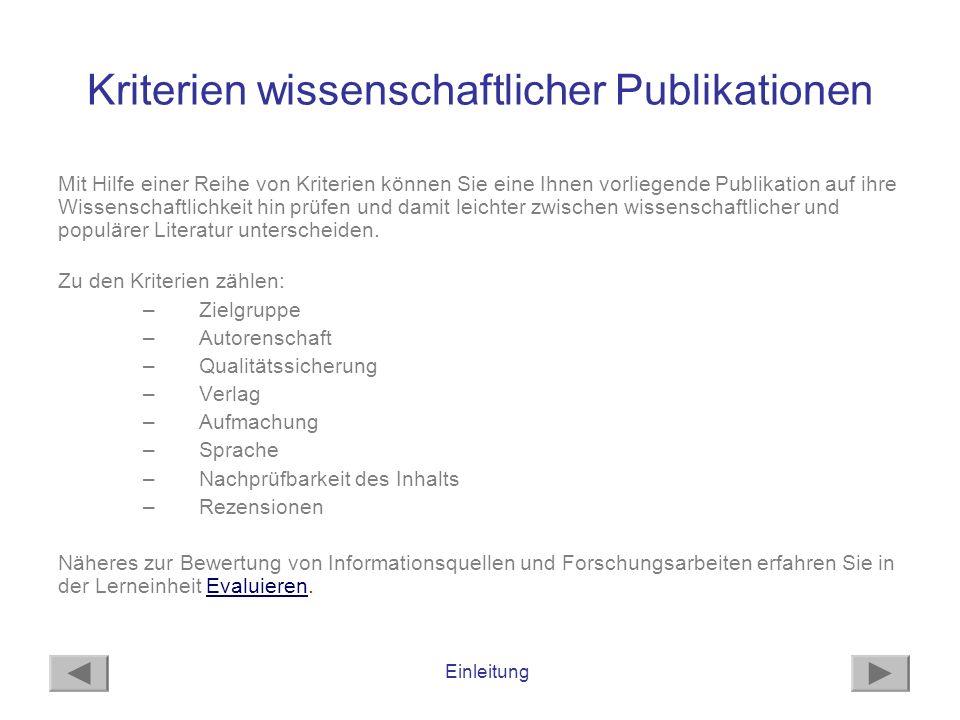 Kriterien wissenschaftlicher Publikationen