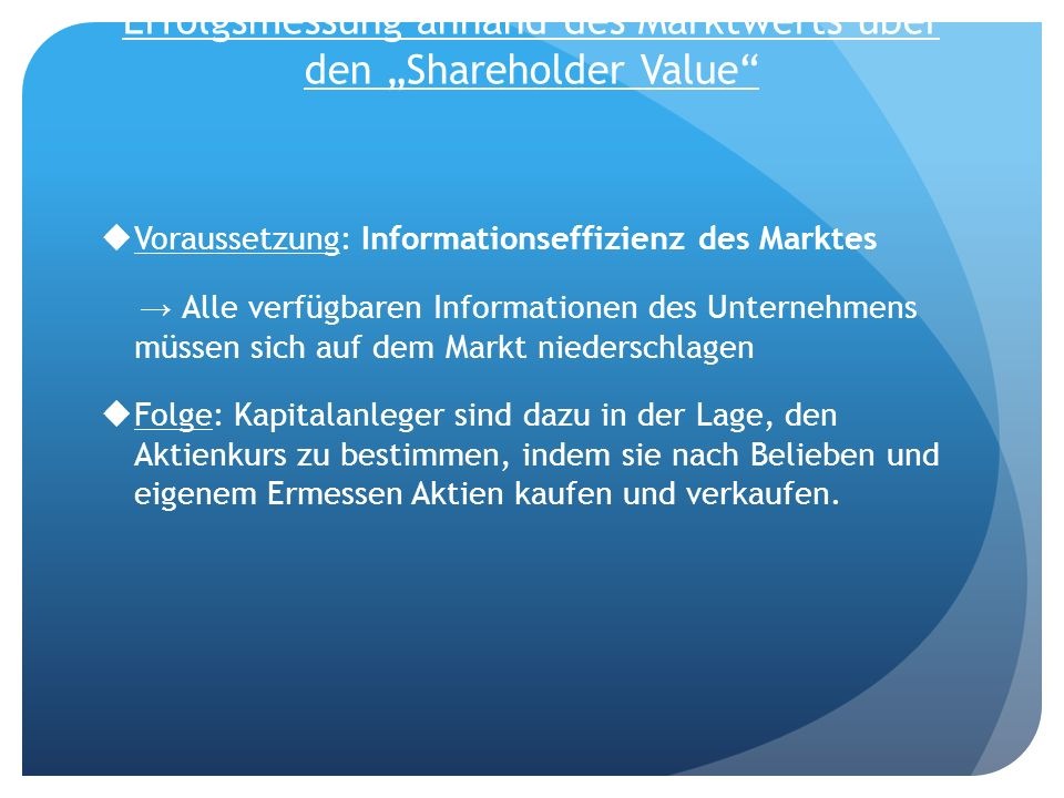 "Erfolgsmessung anhand des Marktwerts über den ""Shareholder Value"
