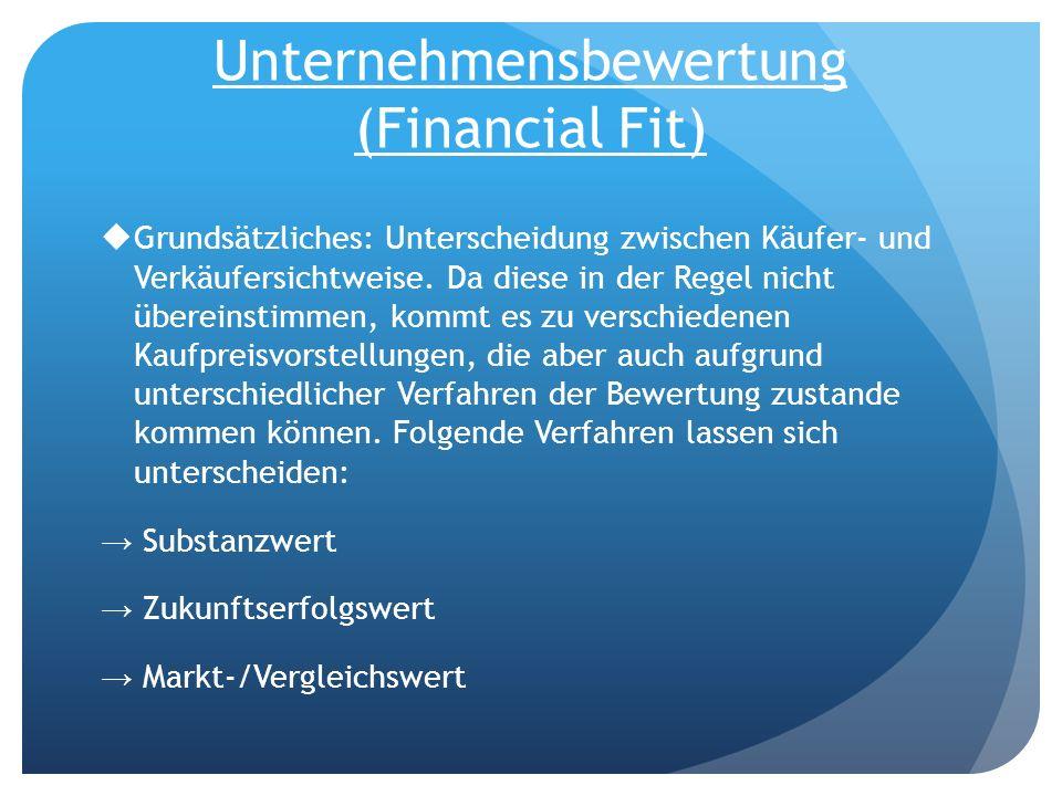 Unternehmensbewertung (Financial Fit)