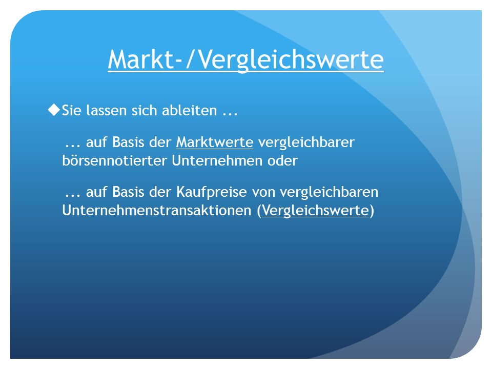 Markt-/Vergleichswerte