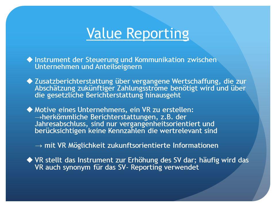 Value Reporting Instrument der Steuerung und Kommunikation zwischen Unternehmen und Anteilseignern.