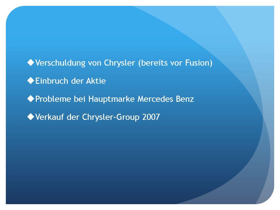 Verschuldung von Chrysler (bereits vor Fusion)