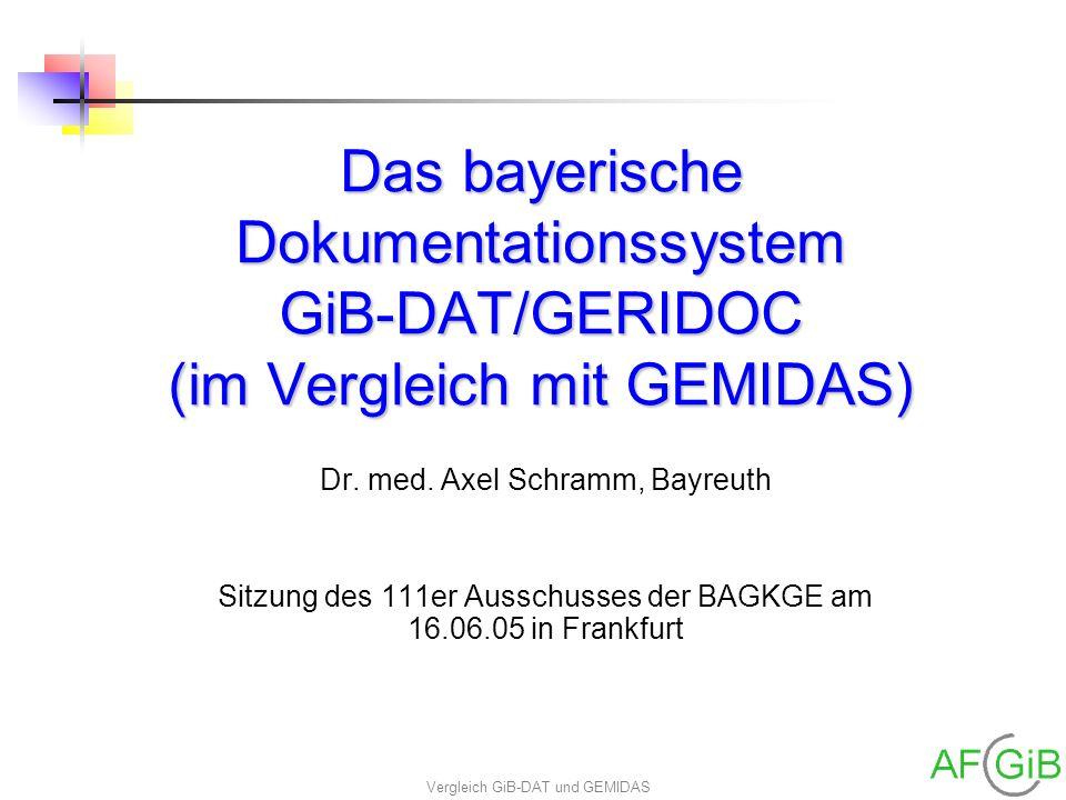 Das bayerische Dokumentationssystem GiB-DAT/GERIDOC (im Vergleich mit GEMIDAS)