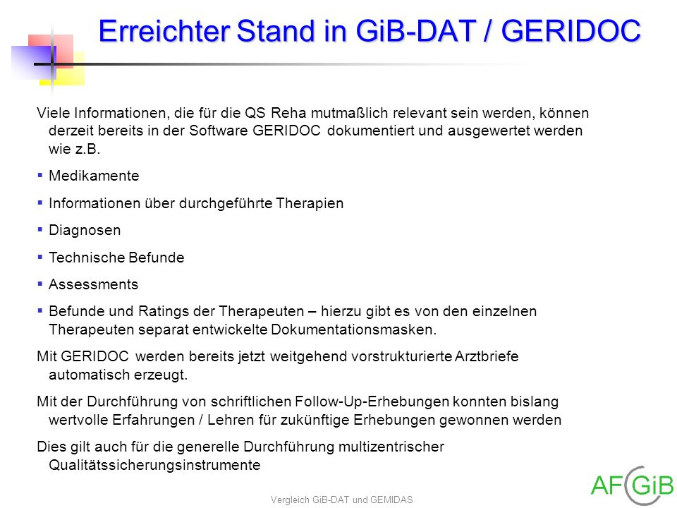 Erreichter Stand in GiB-DAT / GERIDOC