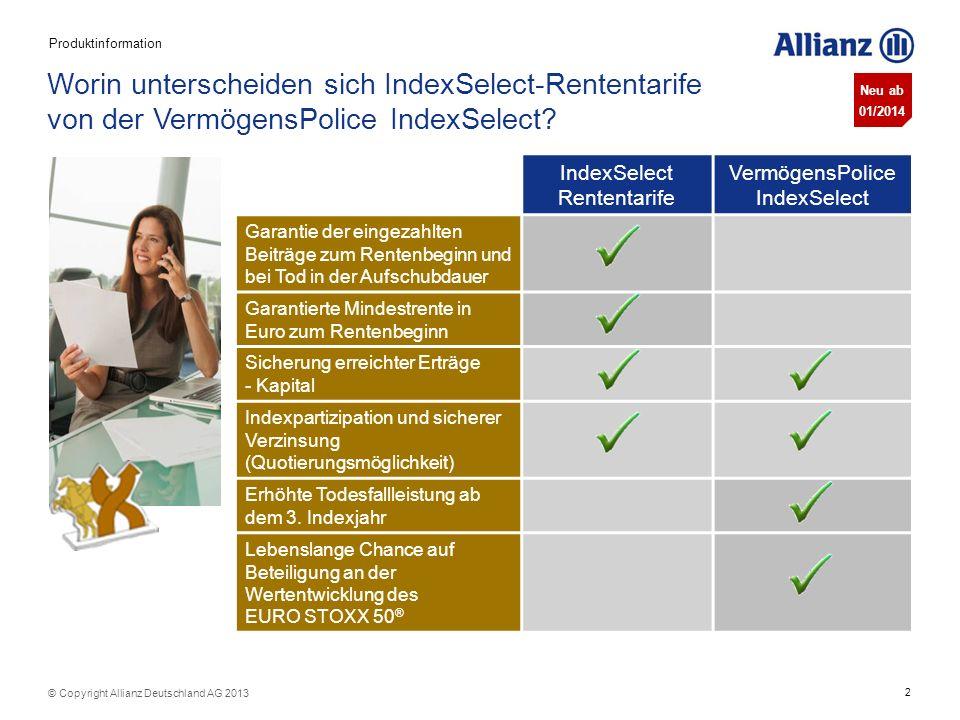 Produktinformation Worin unterscheiden sich IndexSelect-Rententarife von der VermögensPolice IndexSelect