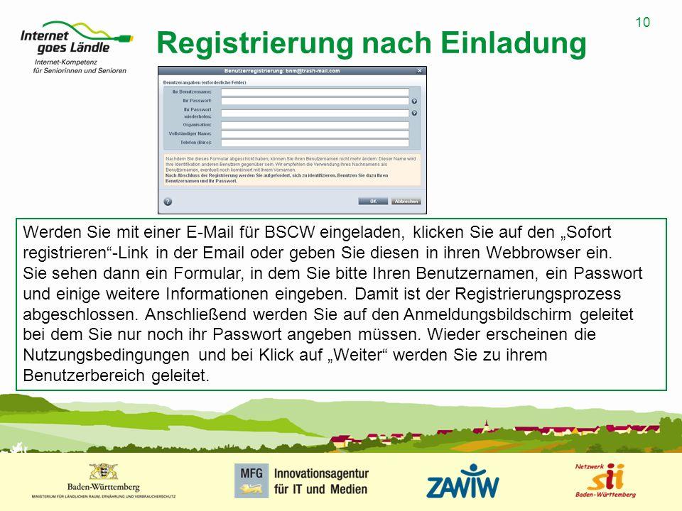 Registrierung nach Einladung