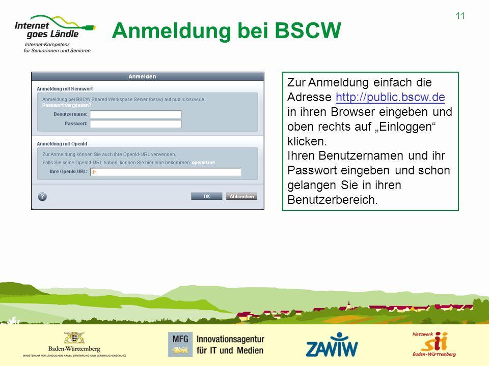 """Anmeldung bei BSCW Zur Anmeldung einfach die Adresse http://public.bscw.de in ihren Browser eingeben und oben rechts auf """"Einloggen klicken."""