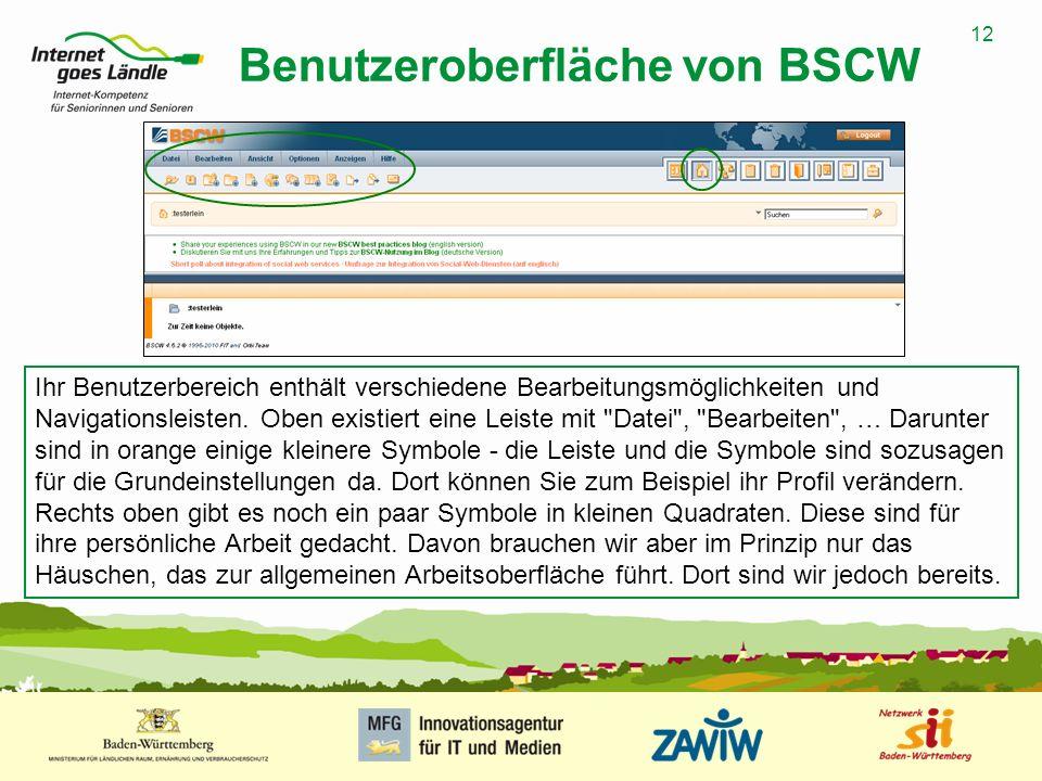 Benutzeroberfläche von BSCW