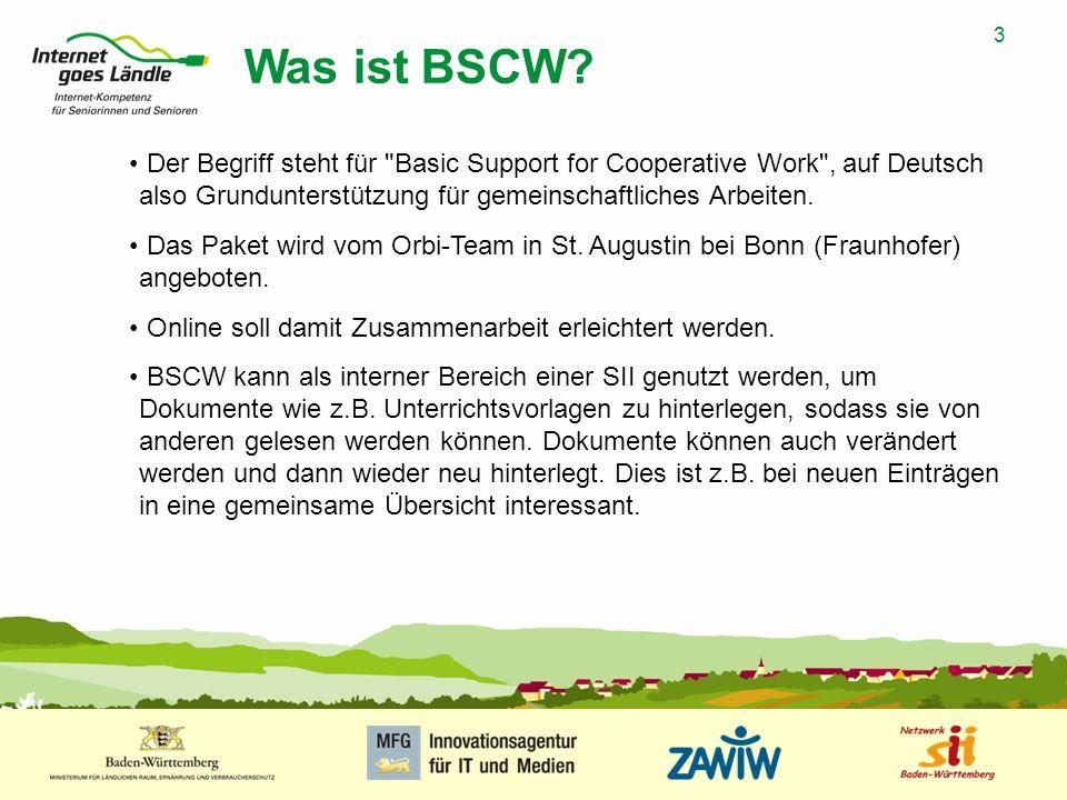 Was ist BSCW Der Begriff steht für Basic Support for Cooperative Work , auf Deutsch also Grundunterstützung für gemeinschaftliches Arbeiten.