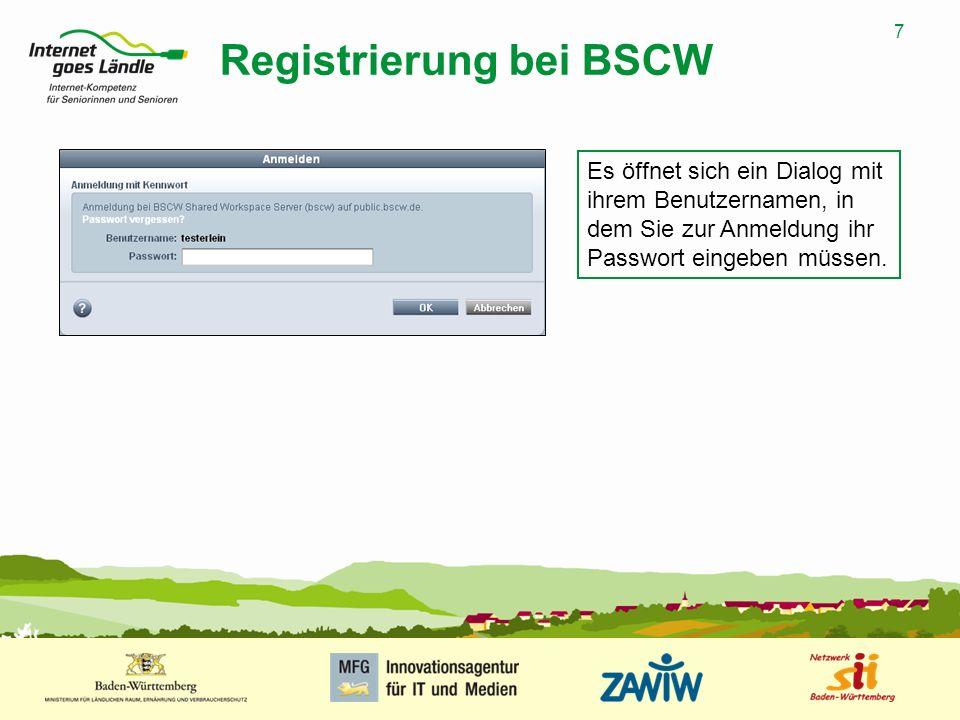 Registrierung bei BSCW