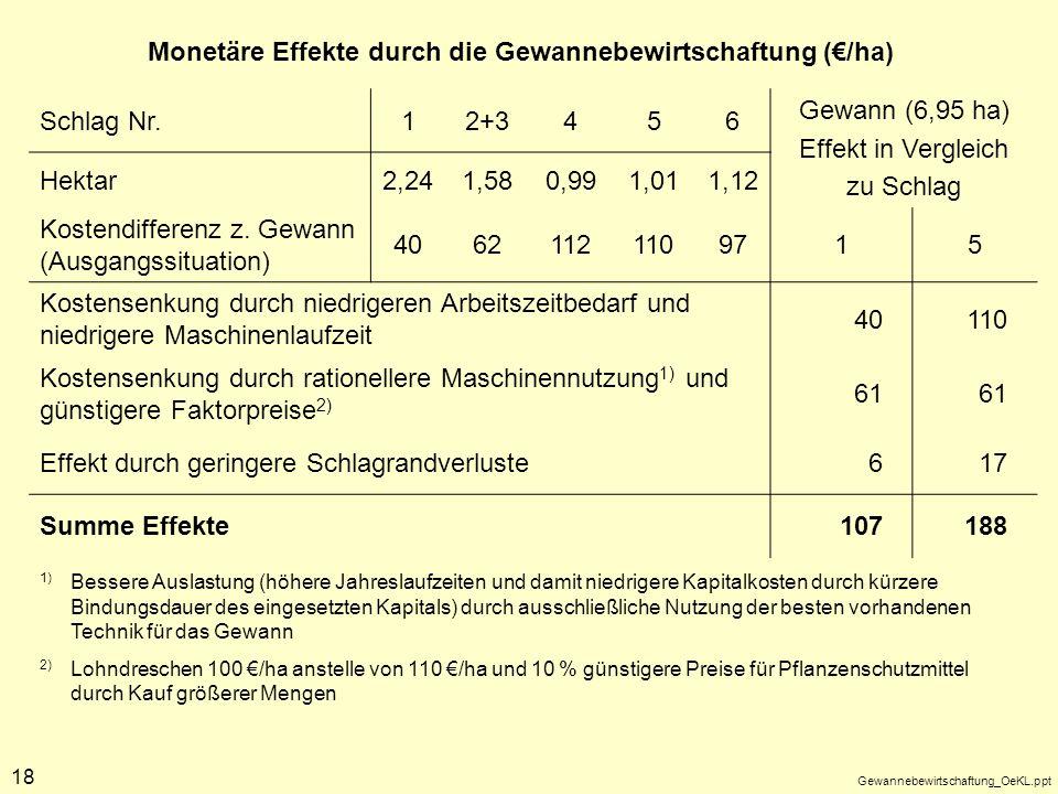 Monetäre Effekte durch die Gewannebewirtschaftung (€/ha) Schlag Nr. 1