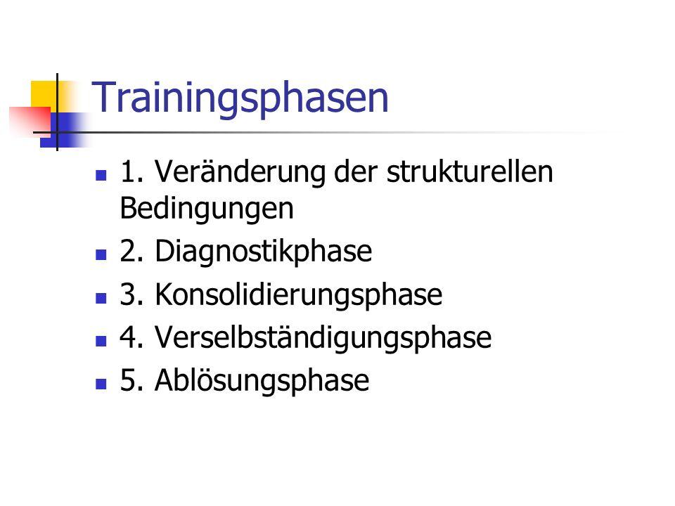 Trainingsphasen 1. Veränderung der strukturellen Bedingungen