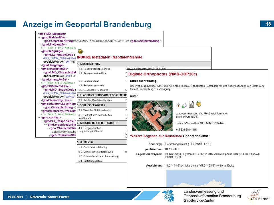 Anzeige im Geoportal Brandenburg