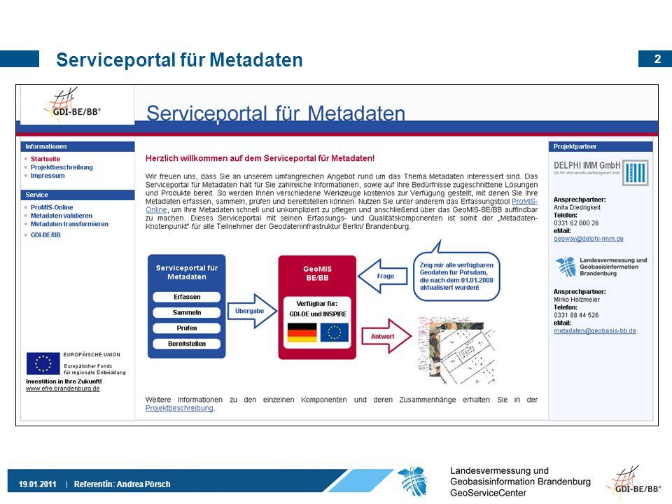 Serviceportal für Metadaten
