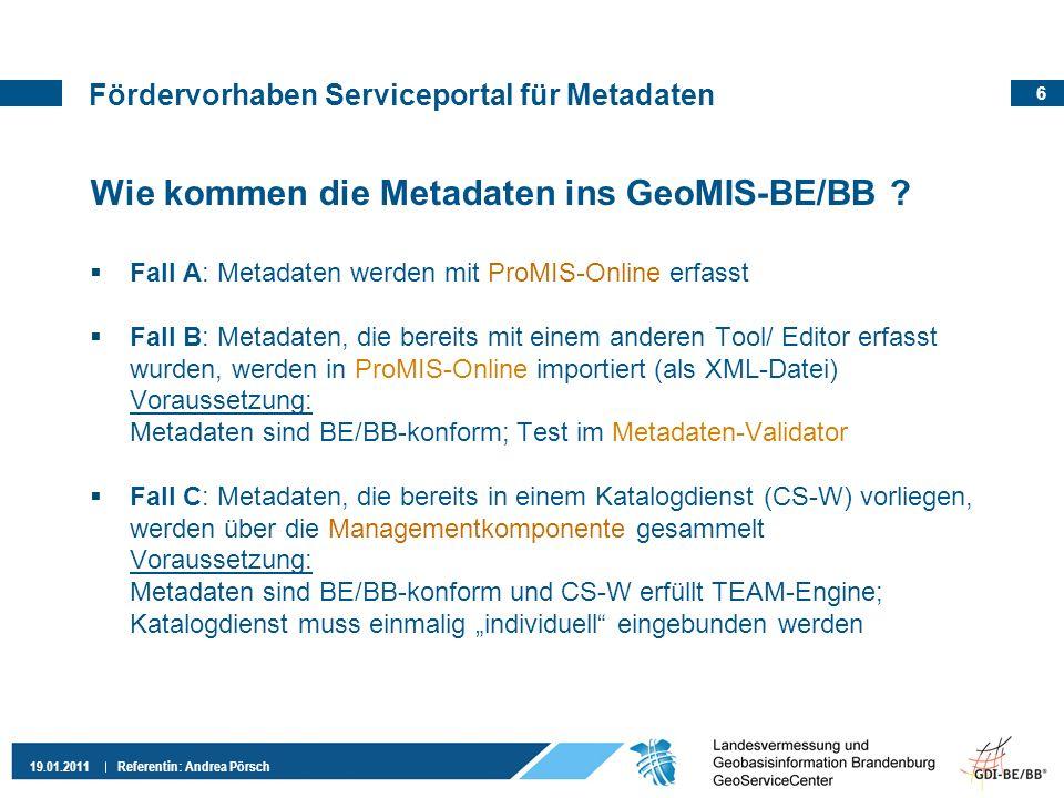 Fördervorhaben Serviceportal für Metadaten