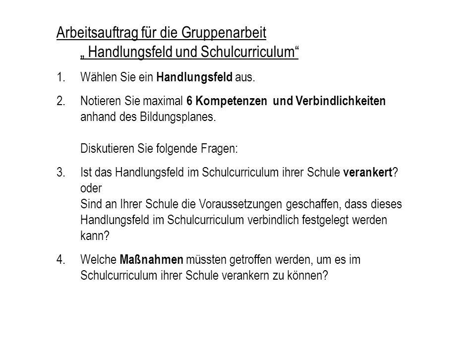 """Arbeitsauftrag für die Gruppenarbeit """" Handlungsfeld und Schulcurriculum"""