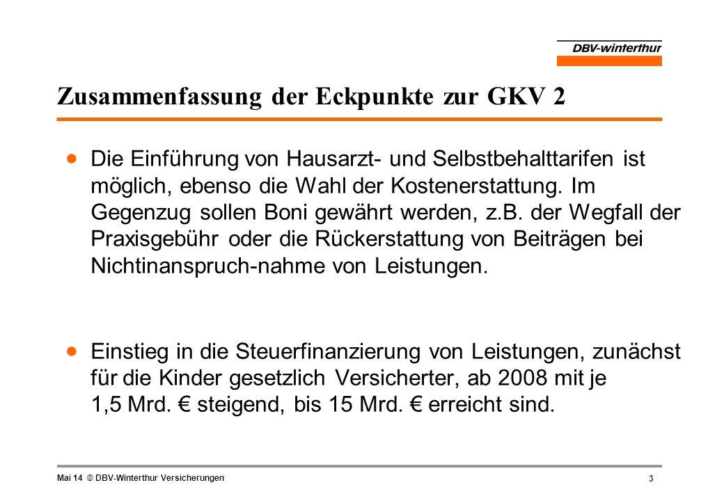 Zusammenfassung der Eckpunkte zur GKV 2