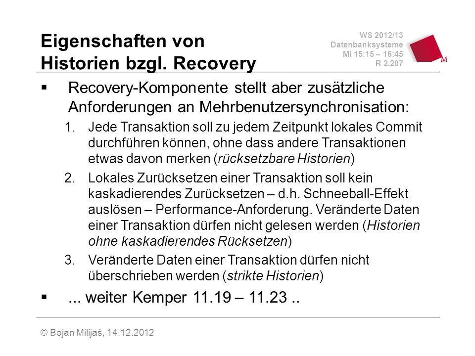 Eigenschaften von Historien bzgl. Recovery