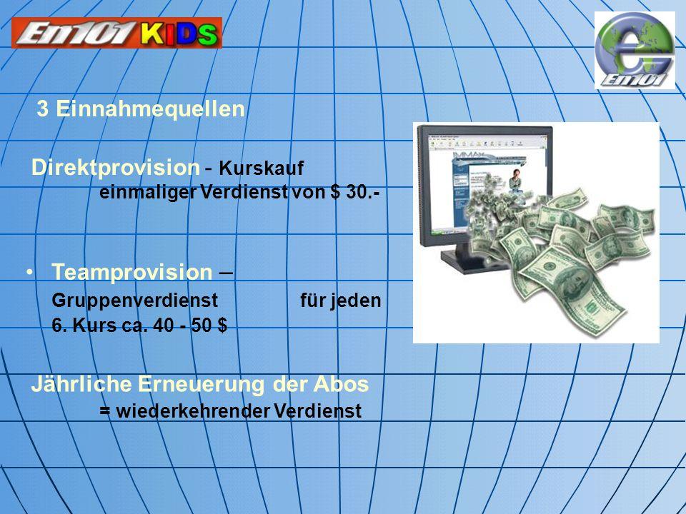 3 Einnahmequellen Direktprovision - Kurskauf einmaliger Verdienst von $ 30.-