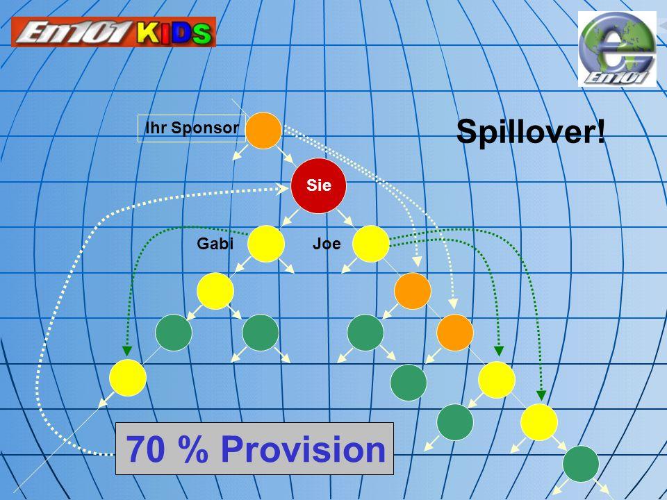 Spillover! Sie Ihr Sponsor Joe Gabi 70 % Provision