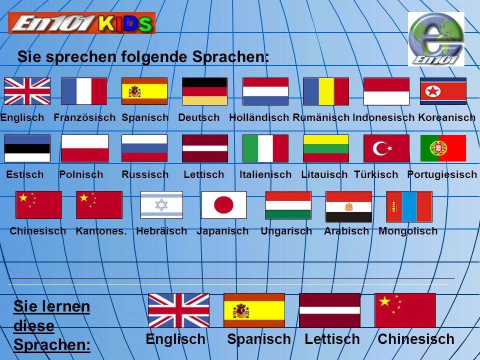 Sie sprechen folgende Sprachen: