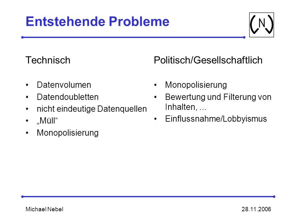 Entstehende Probleme Technisch Politisch/Gesellschaftlich Datenvolumen