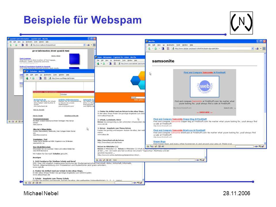 Beispiele für Webspam Michael Nebel 28.11.2006