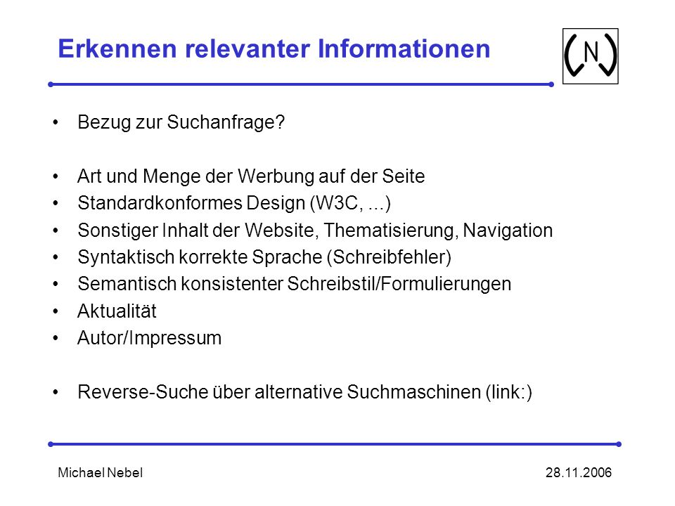 Erkennen relevanter Informationen