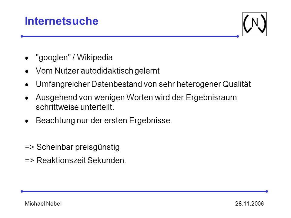 Internetsuche googlen / Wikipedia Vom Nutzer autodidaktisch gelernt