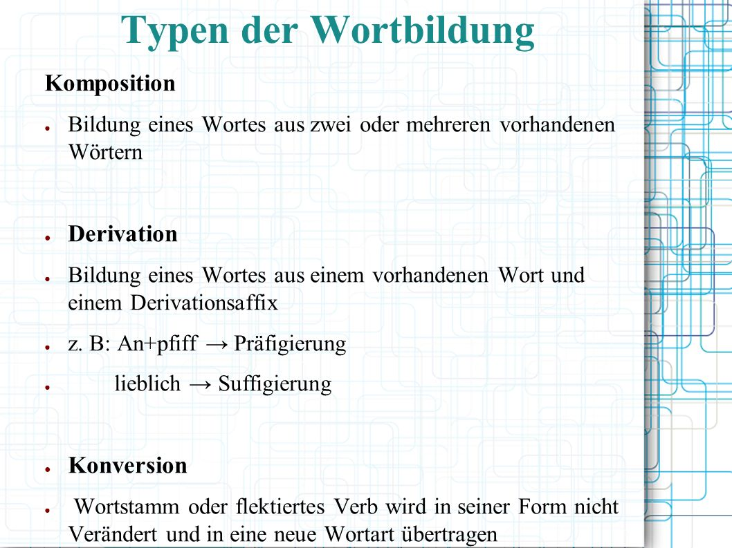 Typen der Wortbildung Komposition Derivation Konversion