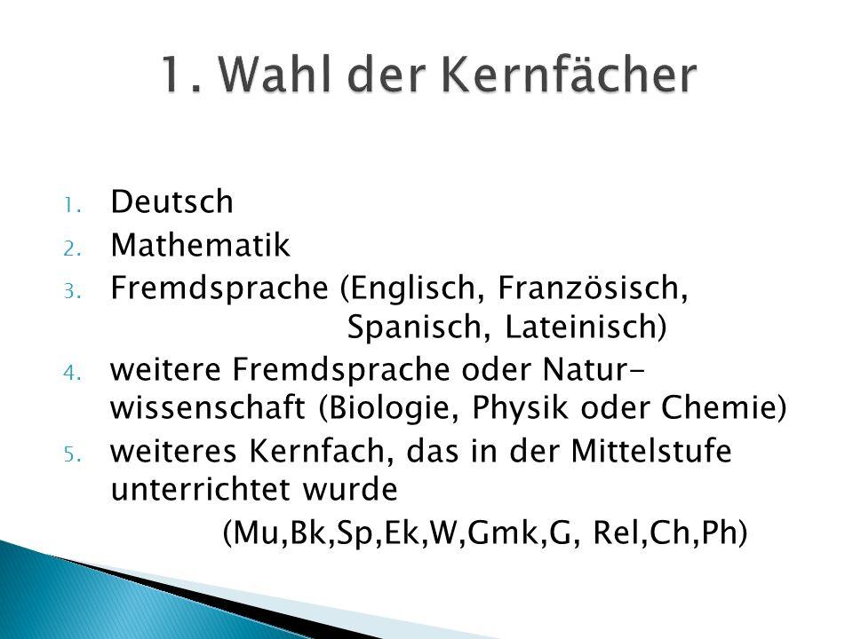 1. Wahl der Kernfächer Deutsch Mathematik