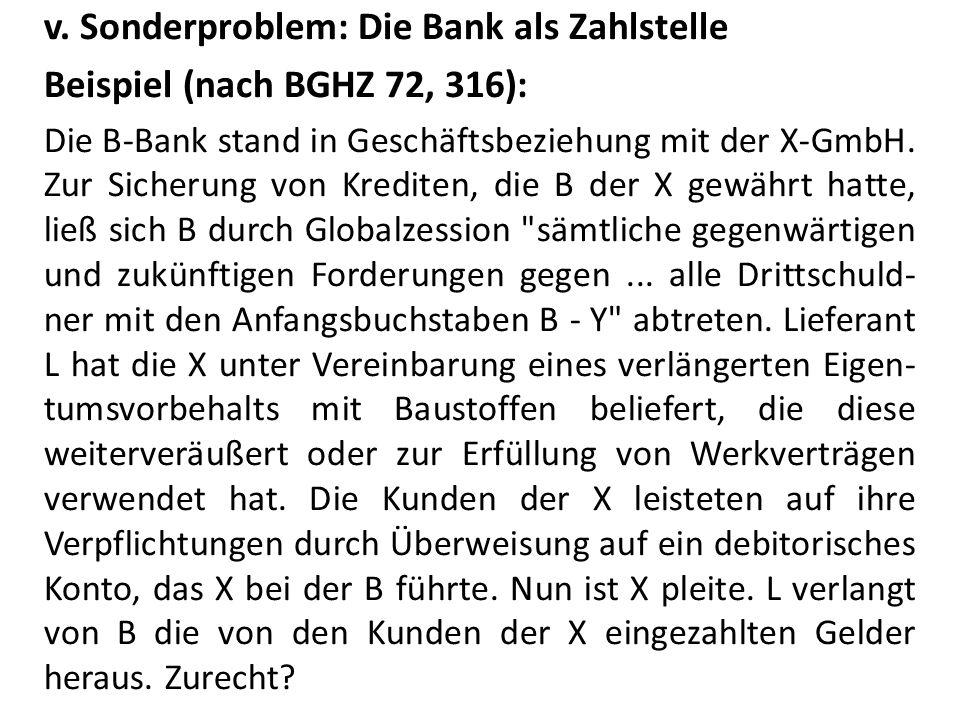 v. Sonderproblem: Die Bank als Zahlstelle