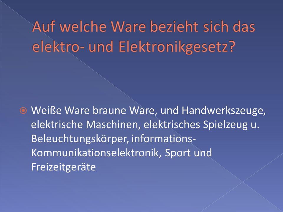 Auf welche Ware bezieht sich das elektro- und Elektronikgesetz