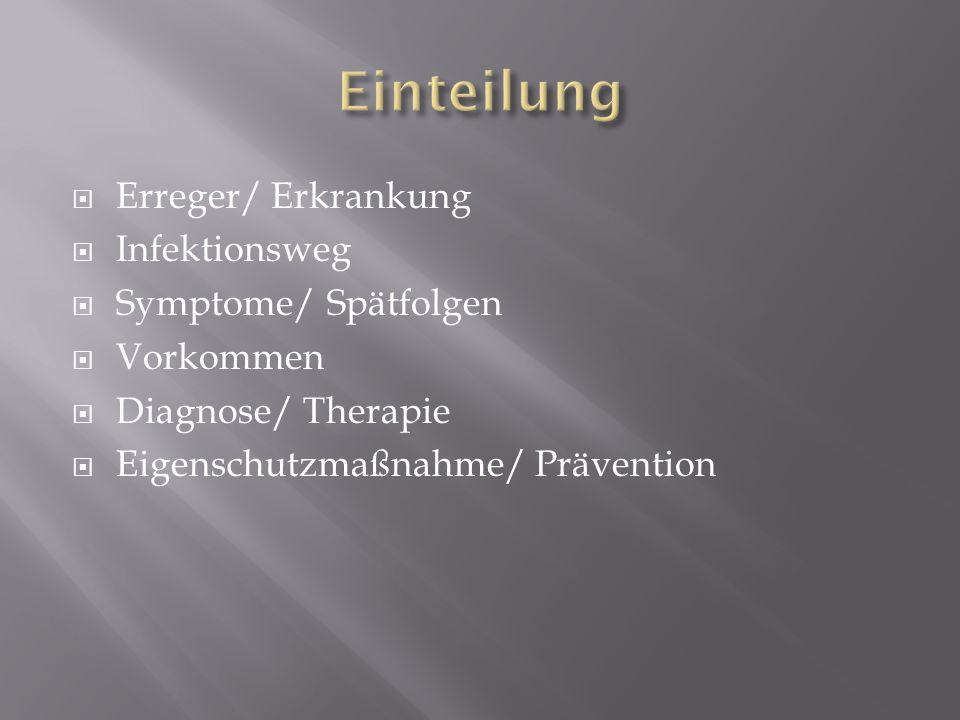Einteilung Erreger/ Erkrankung Infektionsweg Symptome/ Spätfolgen