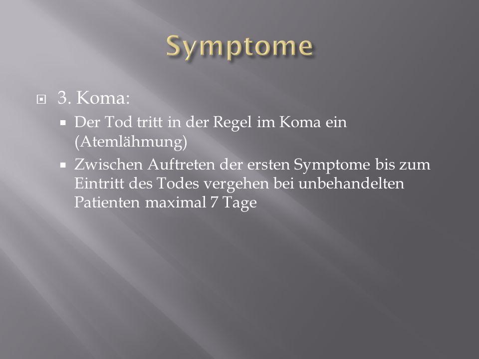 Symptome 3. Koma: Der Tod tritt in der Regel im Koma ein (Atemlähmung)