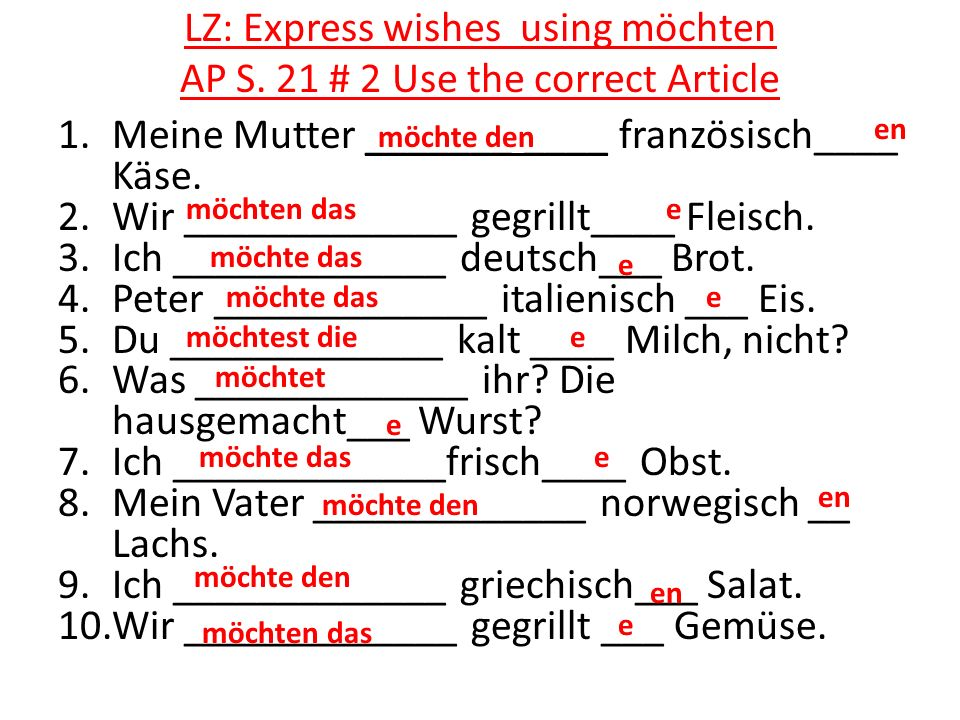 LZ: Express wishes using möchten AP S. 21 # 2 Use the correct Article
