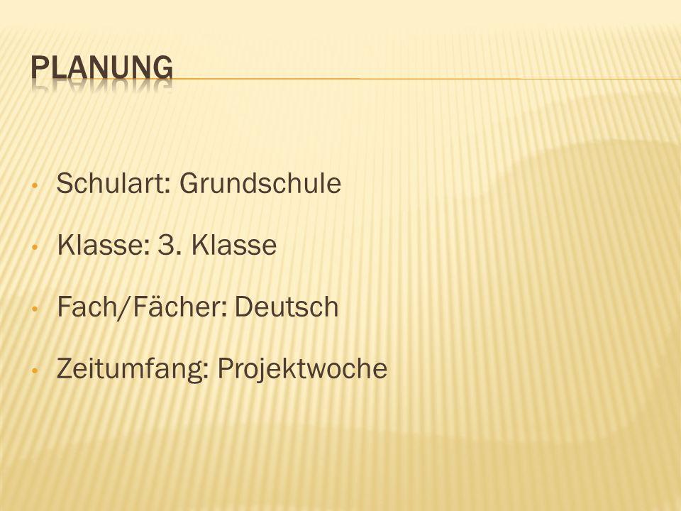 Planung Schulart: Grundschule Klasse: 3. Klasse Fach/Fächer: Deutsch