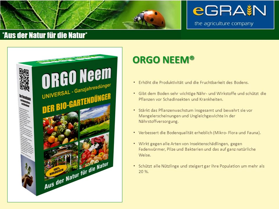 ORGO neem® Erhöht die Produktivität und die Fruchtbarkeit des Bodens.