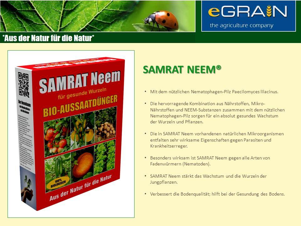 SAMRAT Neem® Mit dem nützlichen Nematophagen-Pilz Paecilomyces lilacinus.