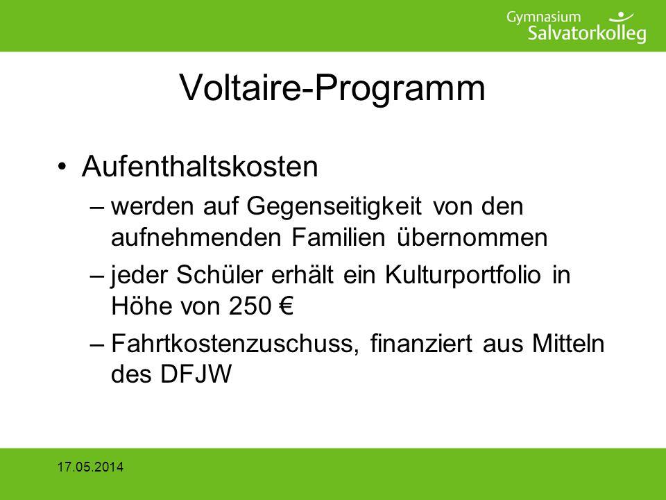 Voltaire-Programm Aufenthaltskosten