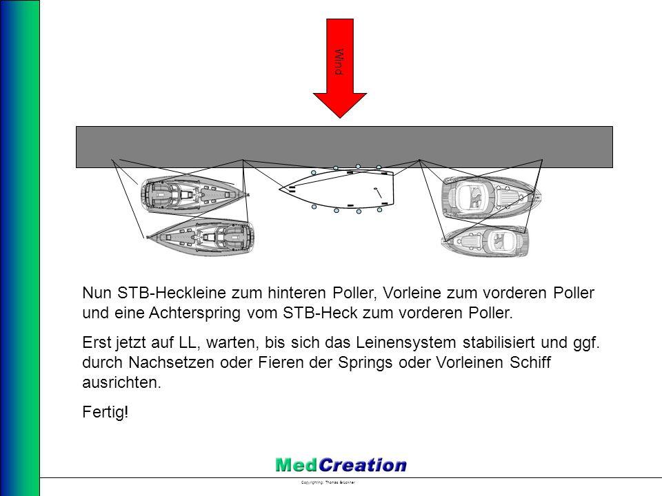 Wind Nun STB-Heckleine zum hinteren Poller, Vorleine zum vorderen Poller und eine Achterspring vom STB-Heck zum vorderen Poller.
