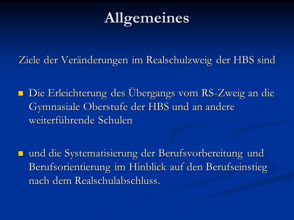 Ziele der Veränderungen im Realschulzweig der HBS sind