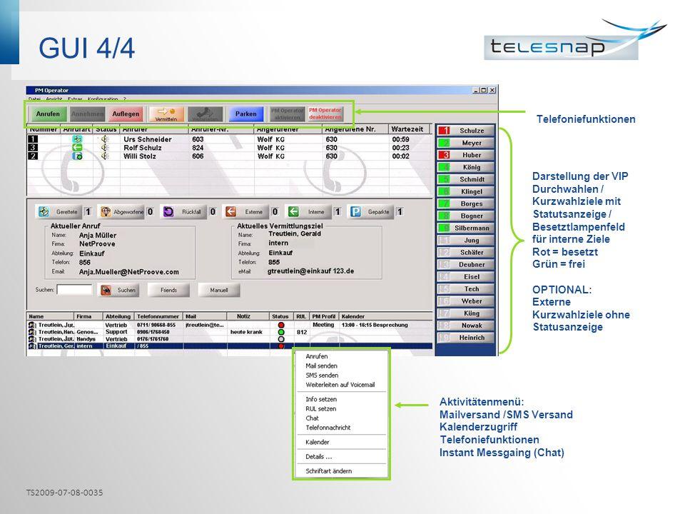 GUI 4/4 Telefoniefunktionen